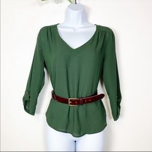 Lily White Green Sheer 3/4 Sleeve Career Blouse